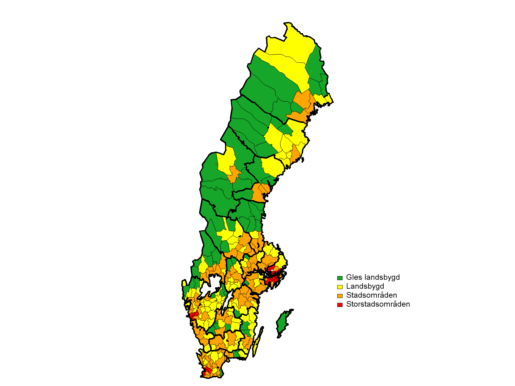 Choropleth map of Fyrgradig