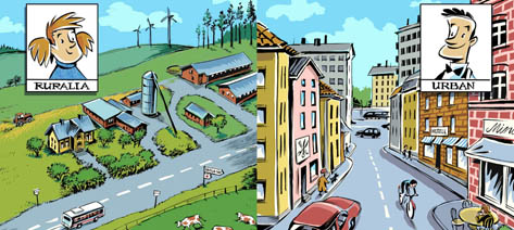 Illustrationer ur boken Urban och Ruralia